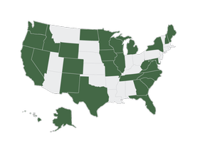 Map of states that Don & Sons can ship to